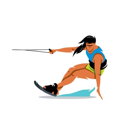 lifejacket: Woman on the board glides over the waves. Isolated on a white background