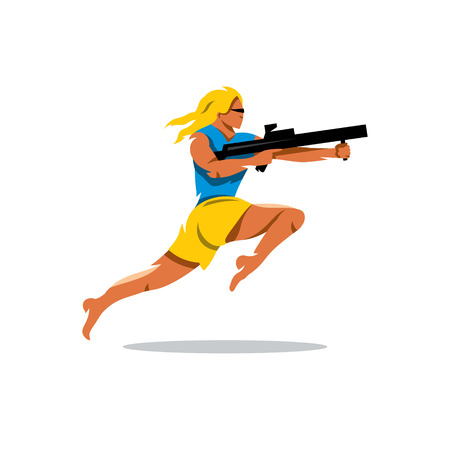 speed gun: Girl with rifle shooting. Isolated on a white background Illustration