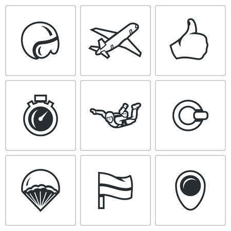 parachute jump: Extreme air parachute jump. Isolated symbols on a white background Illustration