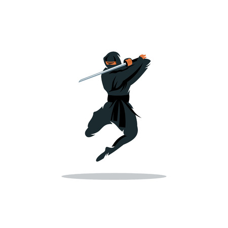 cartoon warrior: Warrior in black dress blade strikes in a jump Isolated on a White Background