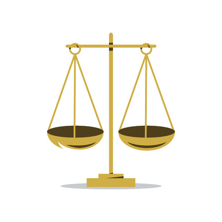 legal system: Ancient scales with two balancing bowls. Isolated on a White Background