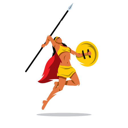 woman illustration: A woman with a shield and sword jumping in a yellow dress isolated on a white background