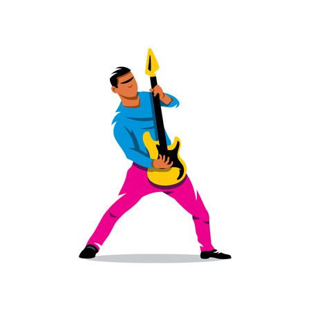 Rock musician is playing electrical guitar. Isolated on a White Background 矢量图像