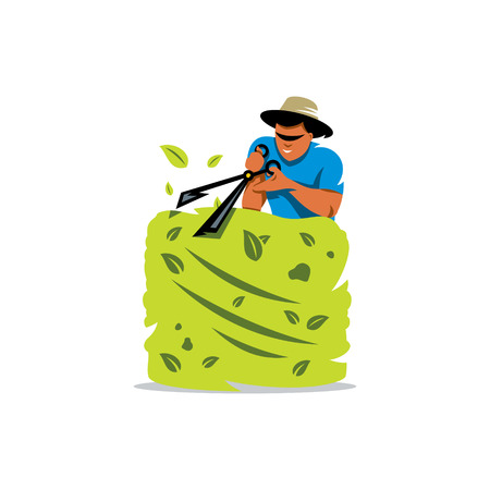 one trim: Gardener cutting a hedge with a garden pruner, close up. Isolated on a White Background Illustration