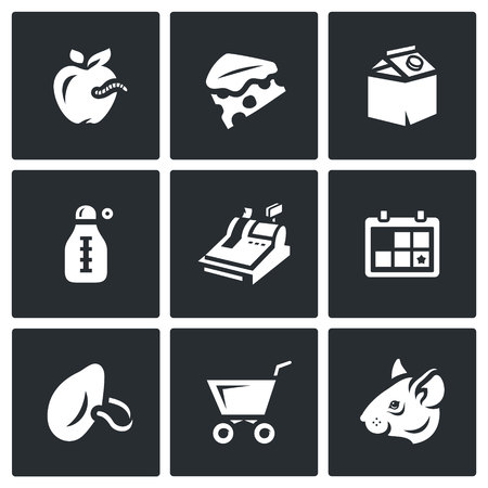 inedible: Spoiled food, dirt, insanitary. Isolated symbols on a black background