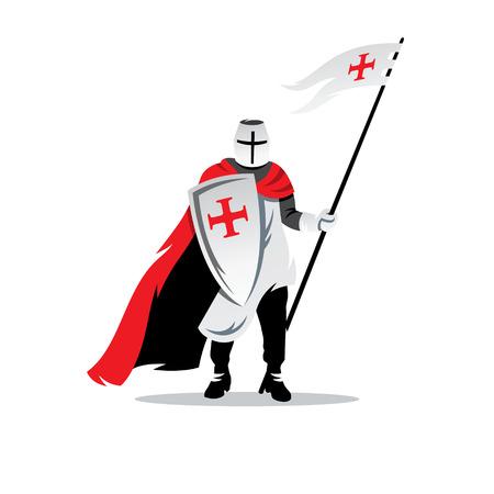 槍と盾を持つ十字軍ヘルメット。白い背景に分離