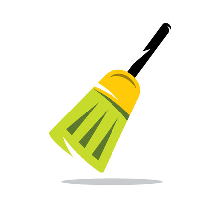 sweeping: Tool for sweeping and cleaning the room. Isolated on a white background Illustration