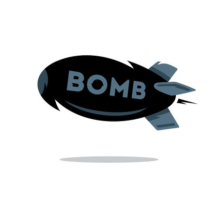nuke: Flying black bomb Isolated on a white background Illustration