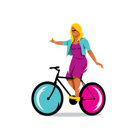 pedals: Woman balancing on the bike pedals. Isolated on a white background Illustration