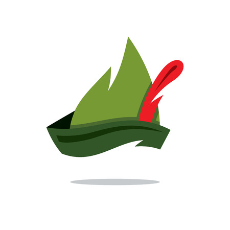 knightly: Austrian green hat with a red feather sticking out. Isolated on a White Background