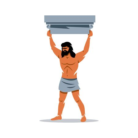 hercules: Strong man raised his head above the architectural detail. Isolated on a White Background