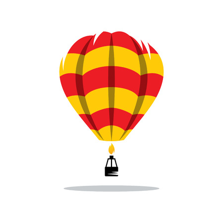 aerostat: Aerostat red yellow color pattern icon isolated on a white background