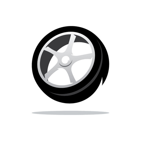vulcanization: Black Tire tread Isolated on a White Background