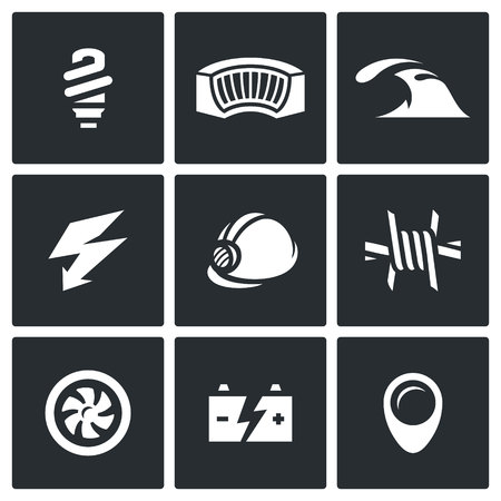 expense: Electricity generation at the expense of water and hydropower work. Icons collection.