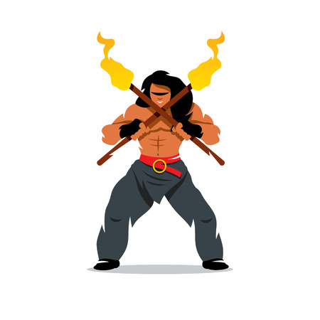 battle evil: Barbarian Warrior holding crossed torches. Isolated on a white background Illustration
