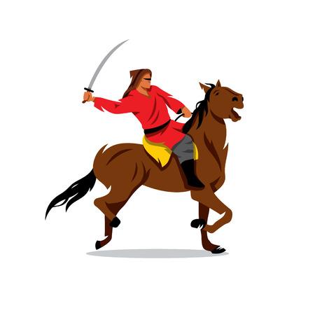 caballero medieval: Jinete con la espada aislada sobre un fondo blanco