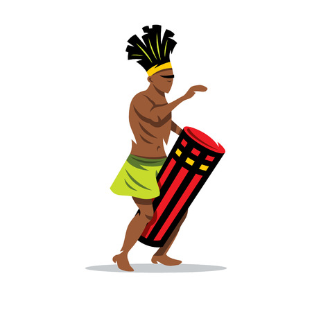 djembe: African man playing a Djembe. Isolated on a White Background