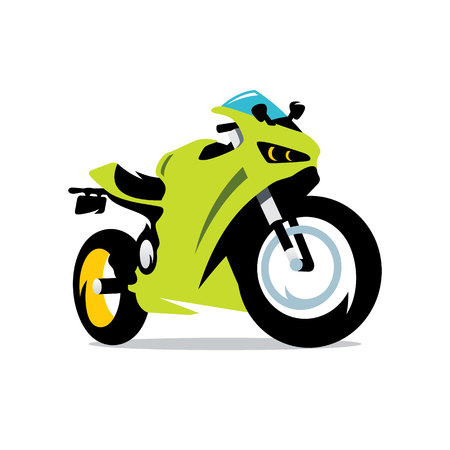 motorsprot: Green Sport bike Isolated on a White Background