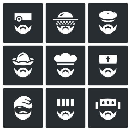 convict: Medic, Gardener, Forester, Boatman, Baker, Bishop, Migrant, Convict, infected person. Illustration