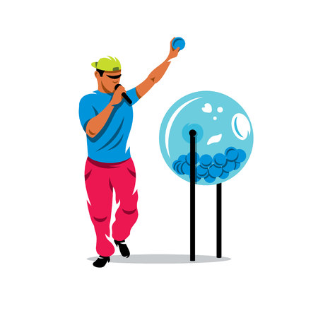 The man pulled out a ball from a lottery drum. Isolated on a white background