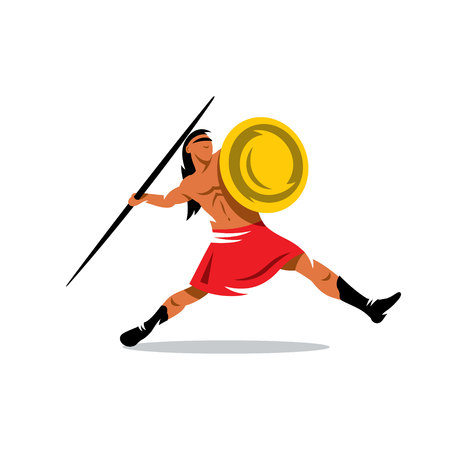 spearman: Gladiator with shield javelin throwing. Isolated on a white background