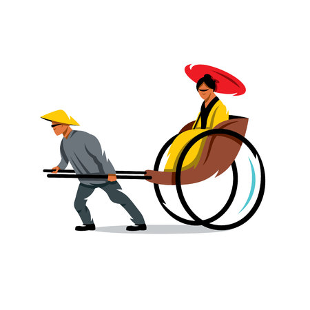 Hand pulled rickshaw and cart with a woman. Isolated on a white background Vetores
