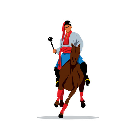 design costume: Man in national traditional costume clothes on a horse waving his arms.
