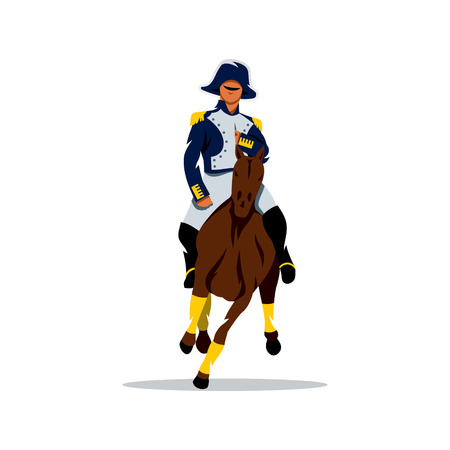 cartoon warrior: Soldier on horseback in national traditional costume. Isolated on a white background Illustration