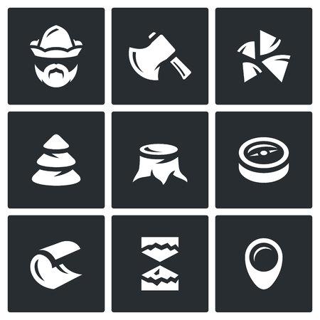 huntsman: Woodman, ax, wood, tree, stump, compass, sawdust, pointer.