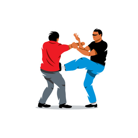 black men: Two people work out fighting skills in tandem with each other. Isolated on a white background Illustration