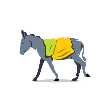 burro: Farm animal with bags on her back. Isolated on a white background