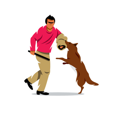 misdemeanor: The man with stick plays with a dog. Isolated on a White Background Illustration