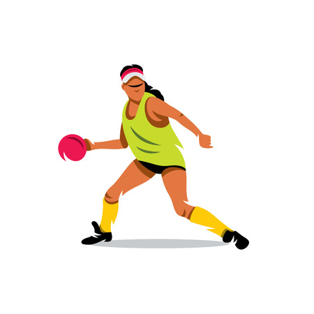 Woman preparing to throw the ball. Isolated on a white background Illustration
