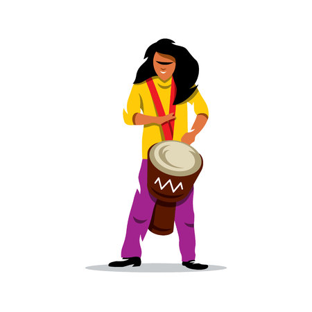 djembe: Brazilian man playing a Djembe. Isolated on a White Background Illustration