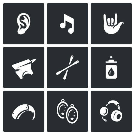 Problem, equipment, medicine, jewelry and communication deaf Illustration