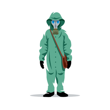 caution chemistry: Man in protective suit and gas mask isolated under the white background