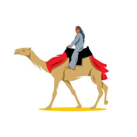camel in desert: A man riding a camel. Isolated on a White Background Illustration