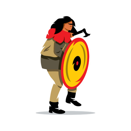drakkar: Barbarian Warrior in a defensive stance. Isolated on a white background Illustration