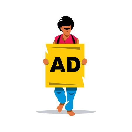 advertising board: Man carries on his chest advertising board. Isolated on a white background