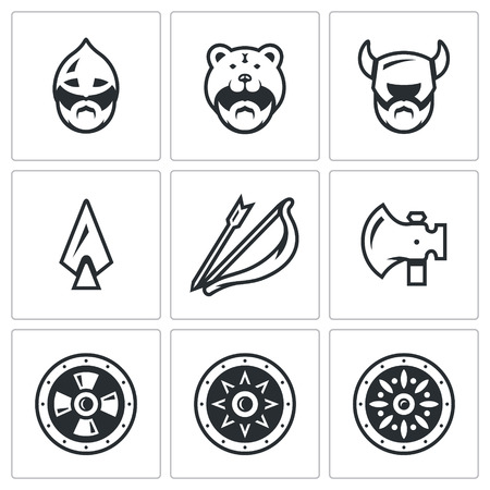 odin: North Warriors and their Weaponry. Isolated symbols on a black background