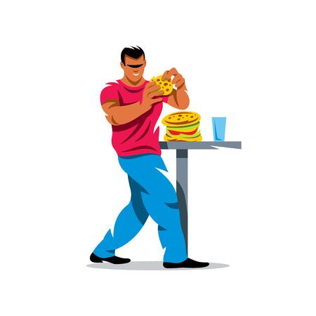 man eater: Man eating hamburger. Isolated on white background.