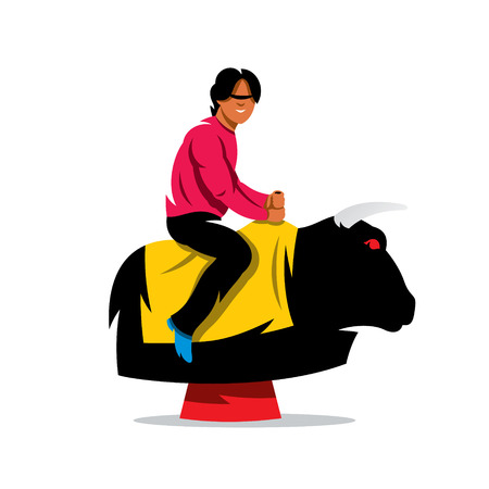 simulator: Man on the mechanical bull simulator. Isolated on a white background