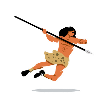 Warrior jumps with a spear. Isolated on a white background Illustration