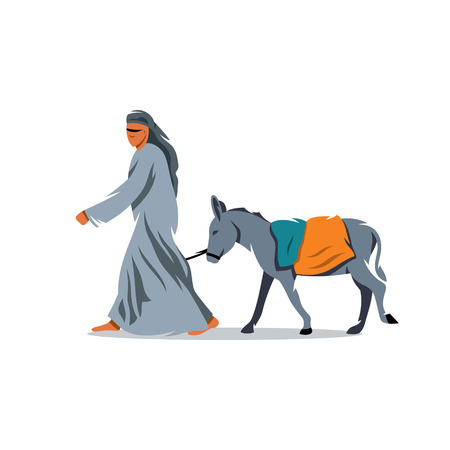 drover: Bedouin and mule. Isolated on a white background