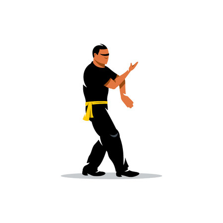 wushu: Man work out fighting skills. Isolated on a white background