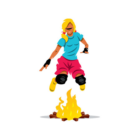 redneck: Girl jumping over the fire. Isolated on a White Background