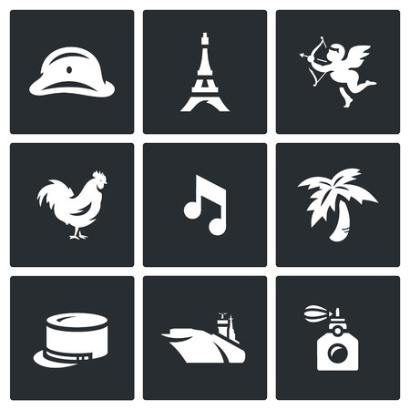 The French capital and the countrys symbols. Illusztráció