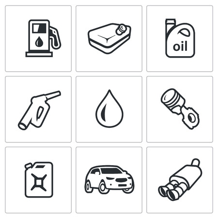 capacity: Refuelling the car, equipment and capacity. Isolated symbols on a black background