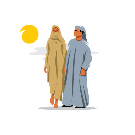 yashmak: Couple in traditional oriental dress from the Middle East. Isolated on a White Background