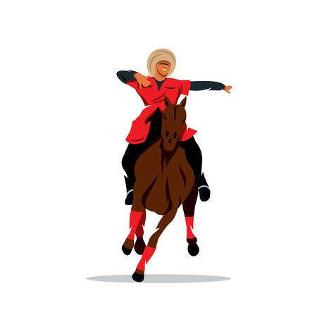highlander: Hombre en sombrero de piel negro y un vestido rojo sobre un caballo agitando los brazos. Aislado en un fondo blanco Vectores